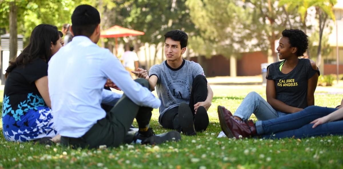 Students sitting on lawn talking