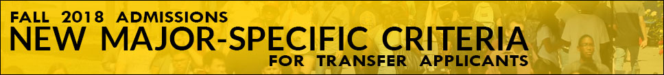 New Major Specific Transfer Criteria for Fall 2018 Admissions