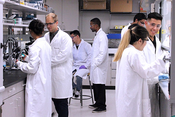 Cal State LA Students working in a Laboratory