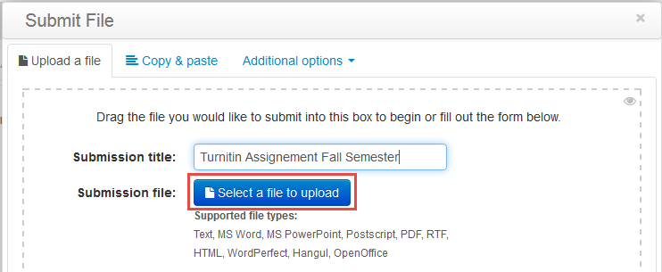 turnitin submit a file to upload button