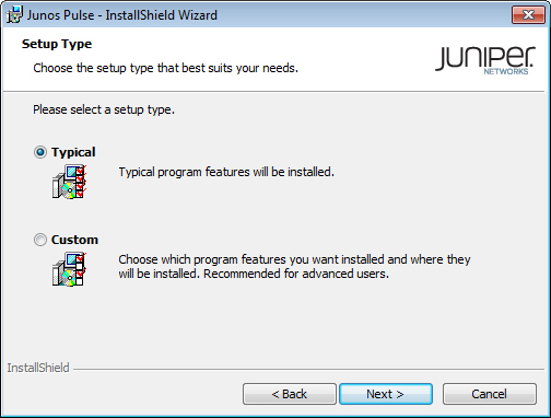 Setup Type Page of the Junos Pulse InstallShield Wizard Dialog Box