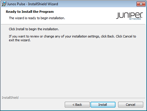 Ready to Install page of the Junos Pulse InstallShield Wizard Dialog Box