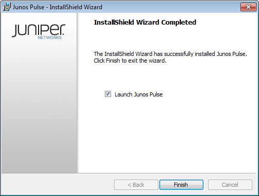Final Page of the of the Junos Pulse InstallShield Wizard Dialog Box