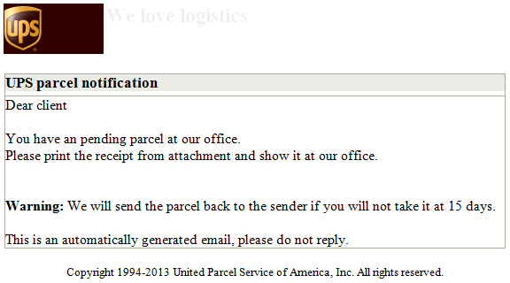 Phishing email message pretends to be from UPS
