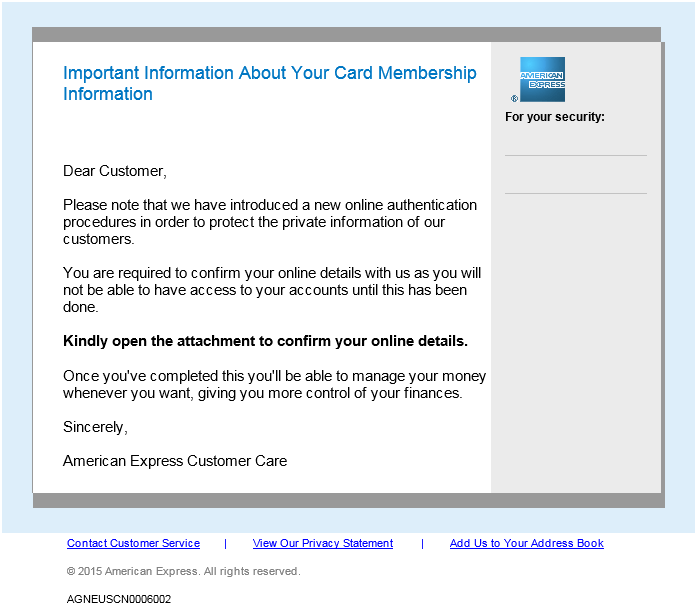 Example of phishing email message pretending to be from American Express