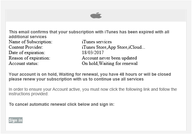 phishing email message pretends to be from iTunes Services