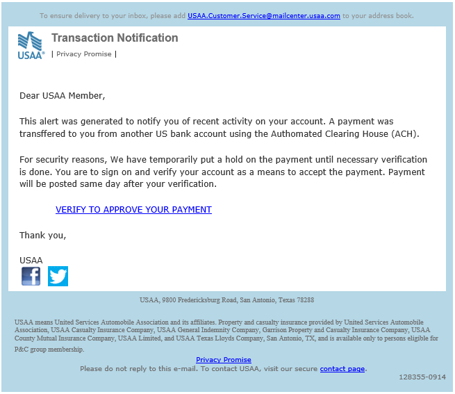 phishing email message pretends to be from USAA