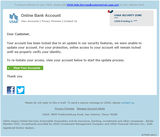 phishing email message pretends to be from USAA Bank