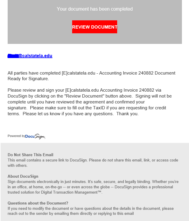 phishing email message pretends to be from DocuSign