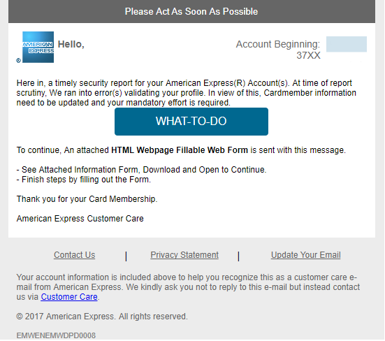 phishing email message pretends to be from American Express