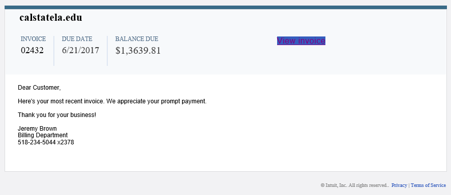 phishing email message looks like an invoice from Intuit with link to download malicious file