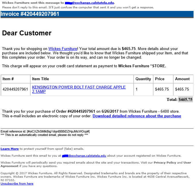 phishing email message looks like an order from Wickes Furniture with link to download malicious file
