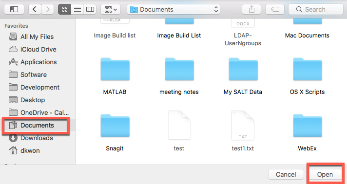 Select Documents Folder to store files