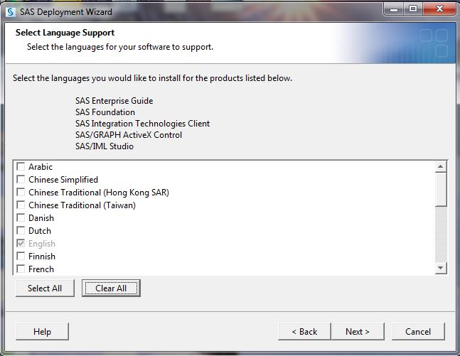 Language support selection