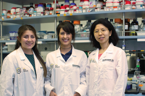 BEBC company Thermogetics; Cal State LA students Rebecca Vargas and Tania Garcia and Professor Xin Wen