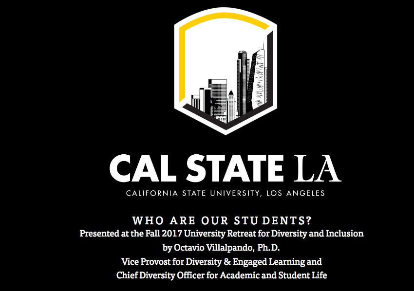 Who are our students? Presented by Octavio Villalpando at the Fall 2017 University Retreat for Diversity and Inclusion