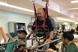 client in harness and students