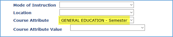 Screenshot showing GENERAL EDUCATION - Semester as a Course Attribute