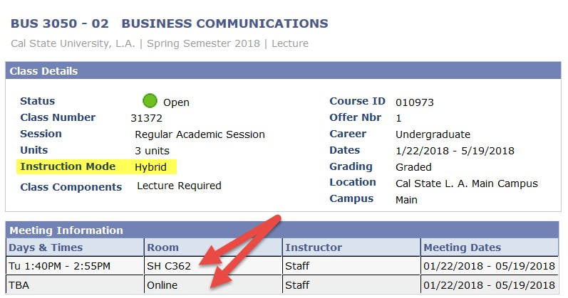 Screenshot of Class Search with Hybrid Course Room highlighted showing both traditional and online room assignment