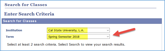 Screenshot of Class Search with Institution and Term highlighted