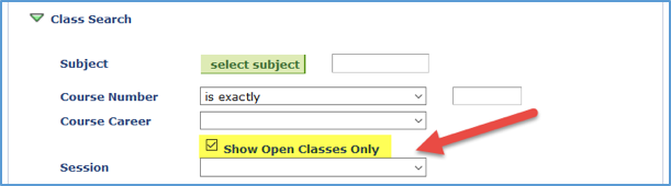 Screenshot of Class Search with Show Open Classes Only checkbox checked