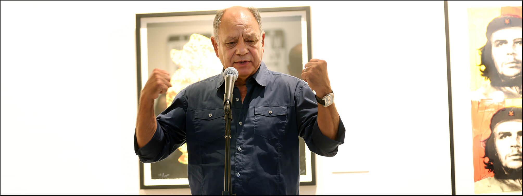 Cheech Marin speaks at Richard Duardo exhibit