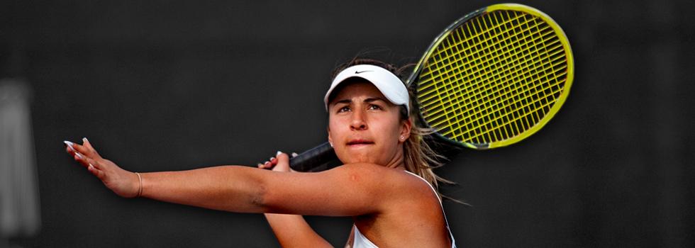 photo of student Iris Raileanu playing tennis
