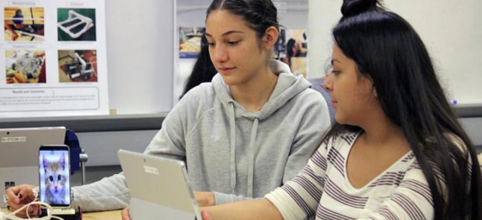 Students working on tablets