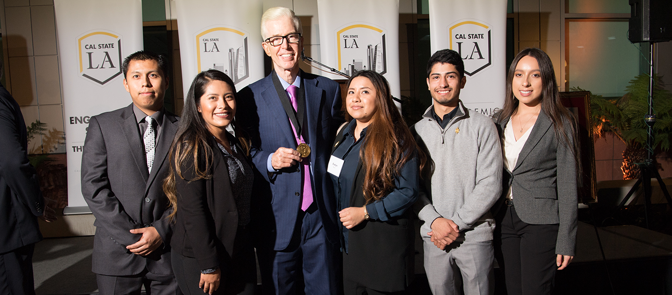 Criminal Justice undergraduate students with former Governor of California, Gray Davis at the HDFSC 10th Anniversary