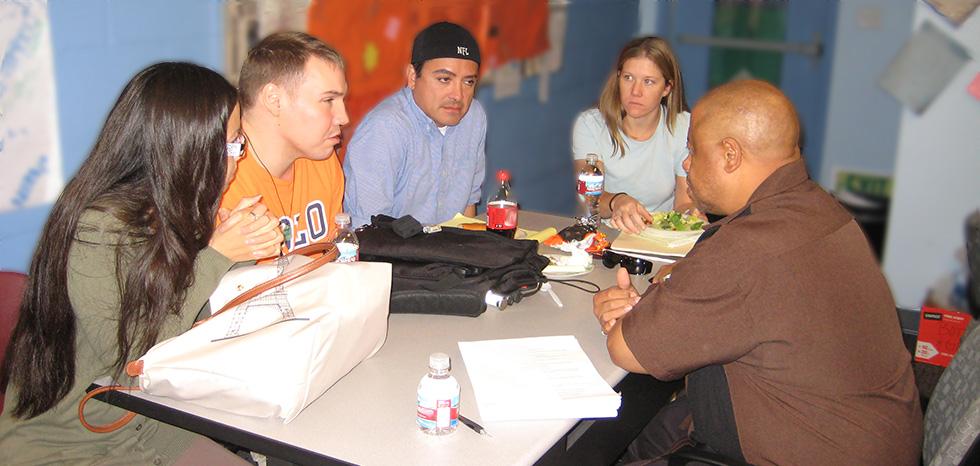 Cohort 1 working in groups