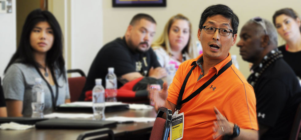 Ed.D. students disscusing interests at Orientation