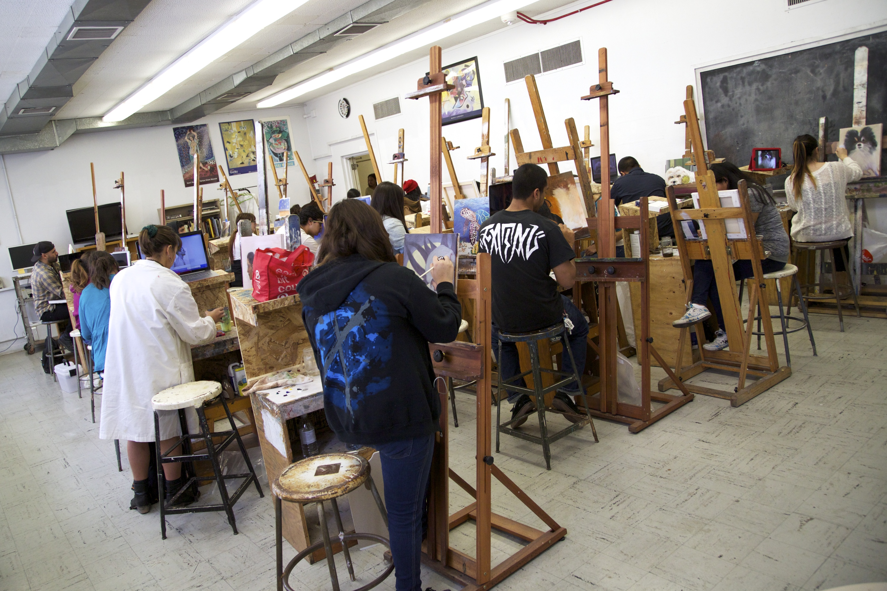 Painting Studio, students are working on their paintings.