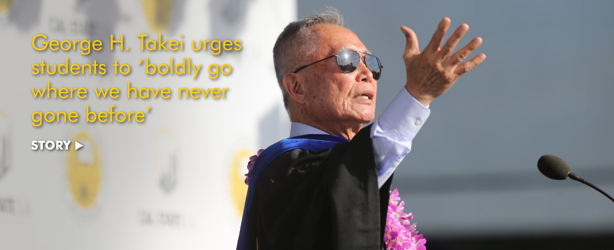"""George H. Takei urges students to """"boldly go where we have never gone before"""""""