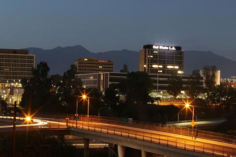 Cal State LA. at night