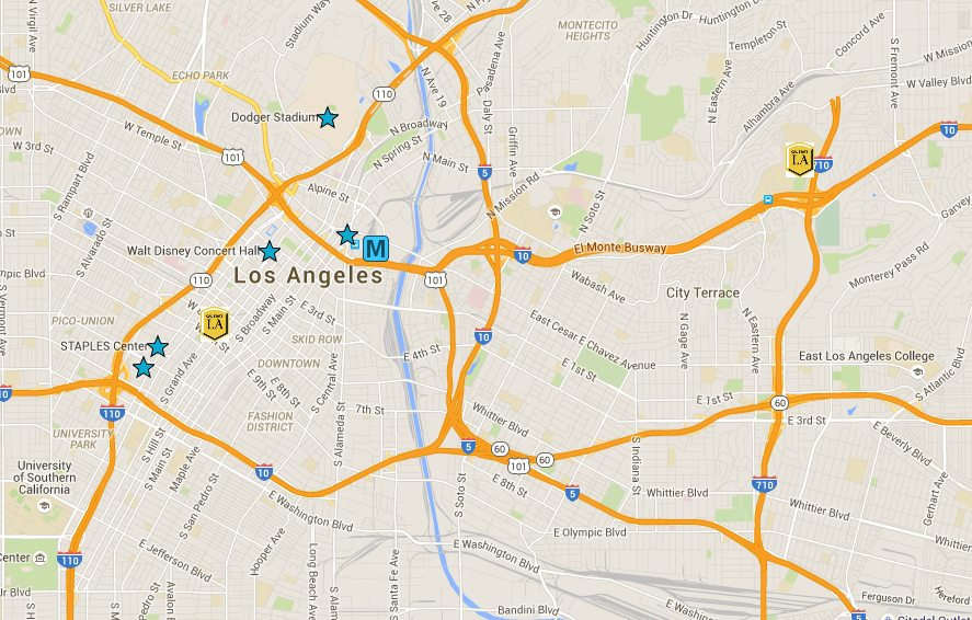 Google Map of Cal State DTLA and city attractions