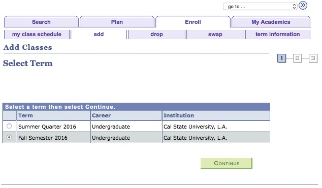 Screenshot of GET: Add Class: Select Term.  This screen has radio buttons next to each possible term that you can select