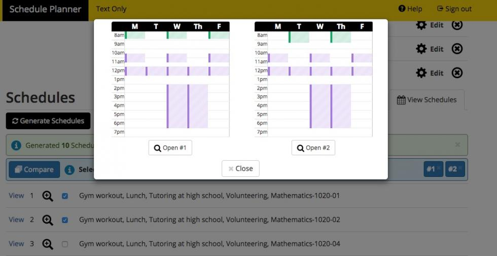 Screenshot of Schedule Planner > Compare Schedule overlay.  Shows what the schedule comparison looks like visually